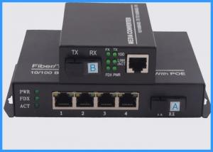 China 4 Ports POE Fiber Optic Media Converter , Ethernet To Optical Media Converter on sale