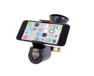 China Multifunction Car Cellphone Holder with FM Transmitter and Speaker on sale