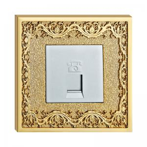 China Forged Brass Wall Socket For Telephone With Classic Patterns on sale