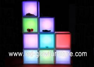 China Polyethylene Plastic LED Cube Furniture container lighting / led Flower Pot on sale