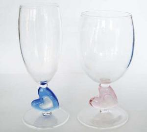China Party Art Hand Blown Glass Goblets Wine For Pyrex Glassware , Heart Handle on sale