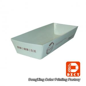 China Recycled Unique Food Packaging Boxes , Laminated Rectangle Paper Food Boats on sale