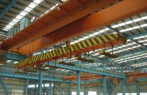 China High Speed Double Girder Overhead Crane With Magnet For Lifting Iron / Steel Blocks on sale