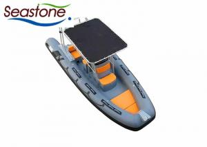 China UV Stable Rigid Hulled Inflatable Boat Orange Soft Cushions Quick Drain Bottom on sale