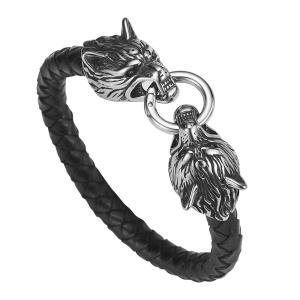 China Hot Sales PU Leather Stainless Steel Double Wolf Heads Bracelet on sale