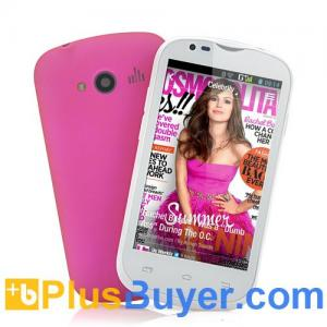 China Dahlia - Budget 3G Android Phone (4 Inch Screen, Snapdragon 1GHz Dual Core CPU, Pink) on sale