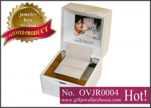 China Custom white square Gift Jewellery Boxes, Wedding ring box with video, music, photo playing on sale