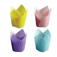 China Food grade oven Safe PE Coated Cake wrappers Paper baking Cups Cupcake Liners , Assorted,300 Pack on sale