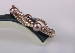 China 6mm Stretch WrappingCostume Pearl Bracelets , Triple Strand Pearl Bracelet on sale