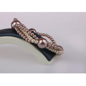 China 6mm Stretch WrappingCostume Pearl Bracelets , Triple Strand Pearl Bracelet on sale