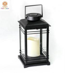 China Hanging Led Candle Outdoor Solar Lanterns  / Camping Hiking Lights Black on sale
