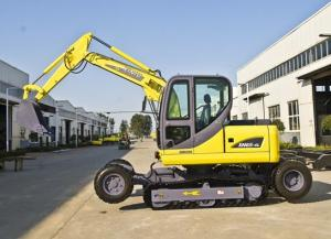 China Electric Mini Excavator , Small Wheeled Excavator Yellow ISO Certificates on sale