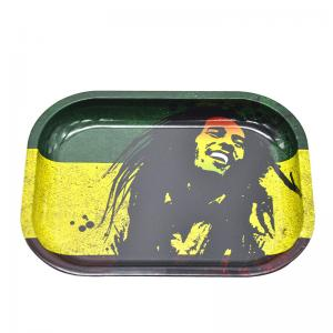 China RAW Bob Marley Rolling Tray Metal Tobacco 18*14*cm Handroller Roll Case Tobacco Storage Tin Smoking Accessories Pipe on sale