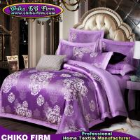 Beatiful Home Using Purple Flowers Jacquard Luxury Bedding Sets