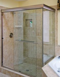 China Hotel Shower Doors Frameless Glass , Bathroom Doors Glass Bright on sale