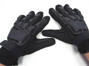 China Black Full  Finger Gloves,Made By Elastic PVC, Leather And Nylon Fiber on sale