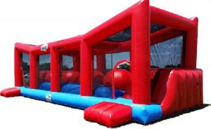 China Funny 0.55 mm PVC Tarpualin Red Inflatable Wipeout Game With Logo Printing on sale