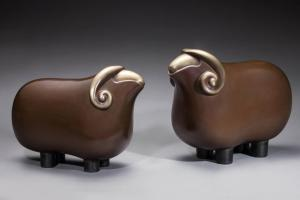 China Brass Sheep Indoor Animal Statues Brown Painting Cartoon Style Office Decoration on sale