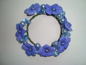 China Small Blue Violet Fabric Artificial Decorative Flowers Garlands Wreaths with Beads on sale