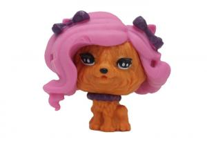 China Pink Fluffy Hair Unique Plastic Dog Toys Orange Big Head For Home Decoration on sale