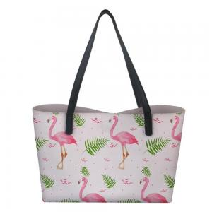 China Flamingo Canvas Tote Bags , Twill Canvas Gift Bags Multifunctional Standard Size on sale