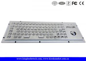 China Brushed Metal Kiosk Stainless Steel Panel Mount Keyboard With Optical Trackball And FN Keys on sale