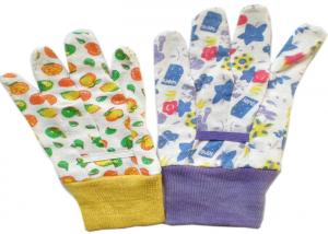 China Cotton Canvas Gardening Gloves With Colourful Knit Wrist & Elastic Line on sale