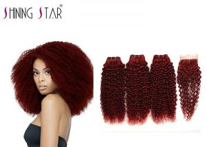 China Remy Curly Hair Weave 99J Red Color Kinky Curly Human Hair Bundles With Closure on sale