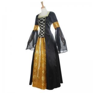 China Medieval Dress Wholesale XXS to XXXL Custom Made Black&Yellow Renaissance Medieval Gothic Dress Cosplay on sale