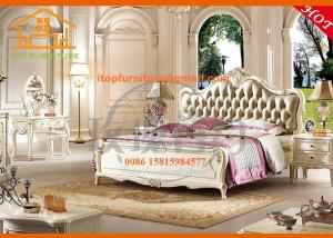China French country antique luxury oak veneer leather bedroom furniture on sale