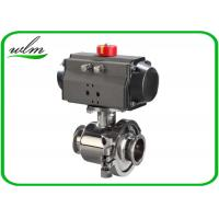 Tri Clamp Sanitary Ball Valves With Aluminum Pneumatic Actuator , Non Retention