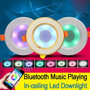 China App Control Bluetooth Music Light Bulb 2 In 1  In Ceiling Speaker With Led Down Light Lamps on sale