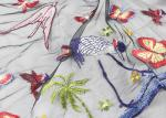 Embroidered Multi Colored Lace Fabric Mesh Fabric For Dresses Butterfly Bird Pattern