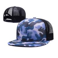 778551fa China 100% Polyester Camo Flat Brim Trucker Hat , Unisex Fitted 5 Panel Hat  on .