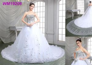 China Crystals Beading Luxury Wedding Dresses / Sweep Train Plus Size Lace Wedding Dresses on sale
