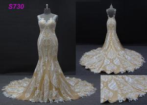 China Champange color sleeveless sheath mermaid wedding dress bridal gown supplier