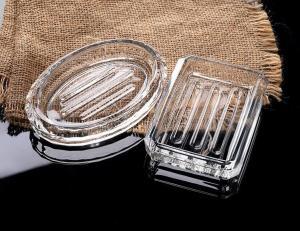 China hot sell  Glass Soap Dish Rectangular Glass houseware bath accessoriesn plate Glass washroom on sale