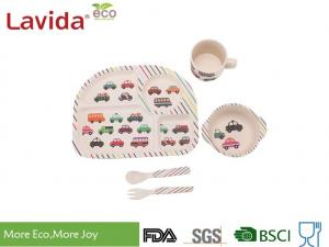 China Colorful Cartoon Cars Style Bamboo Childrens Dinner Set , Reusable Baby Bamboo Dinner Set on sale