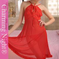 Red Erotic Transparent Adult Sexy Night Dress Lingerie long gowns Nylon Polyester