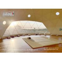 China Geodesic Dome Shape Luxury Glamping Tents With White Roof Cover And Glass Walls For Ourdoor Hotel on sale