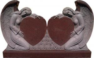 China American style red granite double angel heart headstones on sale