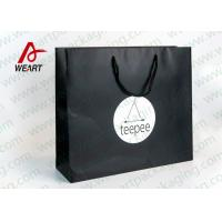 Matt Black Branded Personalised Paper Carrier Bags For Party Nylon Rope