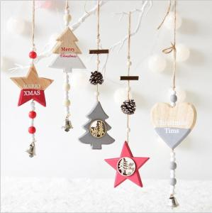 China New Year Wood craft Christmas Ornaments Pendant Hanging Gifts star heart Xmas Tree Decor  Home party christmas decor on sale