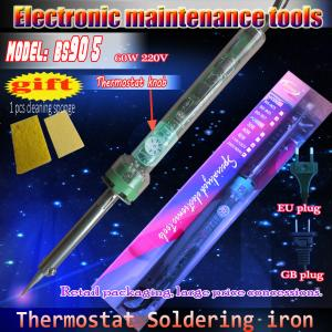 China wholesale EU plug 220V 60W thermostat soldering iron, electronics enthusiasts ideal tool on sale
