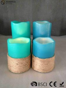 China Multi Colored Led Pillar Candles With Hemp Rope Home Decoration on sale