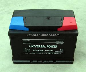 China Rechargeable 12 volt Lead Acid DIN 80 battery for Automotive , truck , Alarm system on sale