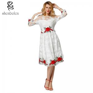 China Long Sleeve Lace Embroidery Rose Women's Casual Dresses, With Double Knit Fabric on sale