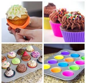 China Home Made DIY Silicone Cupcake Molds Round Reusable For Muffin Baking on sale
