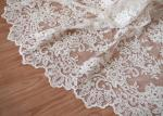 Retro Embroidery Ivory Bridal Lace Fabric / Stretch Tulle Fabric For Wedding Dresses