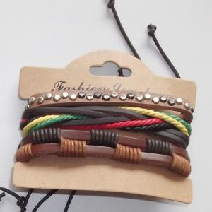 China Handmade Genuine Leather Bracelets, Fashion Multilayer Leather Adjustable Wristband Bangle with Multicolor Cords on sale